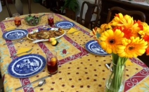 Table set for potluck luncheon