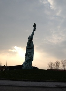 The Statue of Liberty raises her light over Colmar.