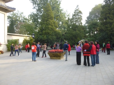 """""""Square dancers"""" on the grounds of the Peace Pagoda."""
