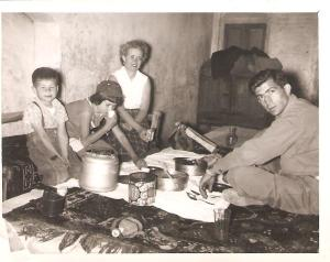 Casual dining on a road trip to Shiraz in 1955. Yes, that's yours truly, reaching for more.