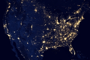 Continental U.S. at night, NASA satellite view