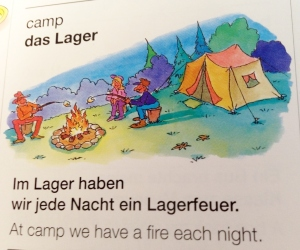 Children's dictionaries show you how to use a word in a sentence. In this case, German word order differs from English. (gt)