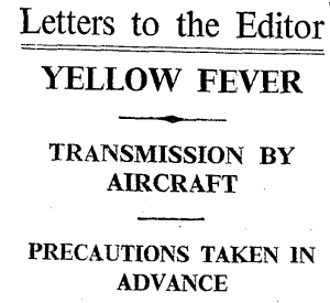 1933 letter to the editor from the President of the Office International d'Hygiene publique.