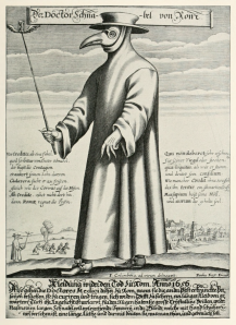 Seventeenth-century plague doctor in protective gear.