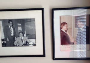 Photos of meetings with presidents still hang in his room.