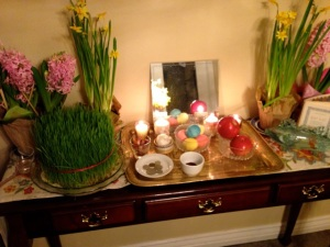 Inspired by the glass fish I found, I made my own Haft Seen table this year.