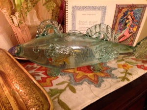 A glass fish for the Haft Seen table. Teheran, 1955.